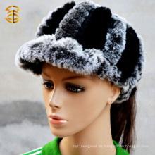 Modische echte Rex Kaninchen Pelz Hut Pure Schwarz und Grau Farbe mit Brim