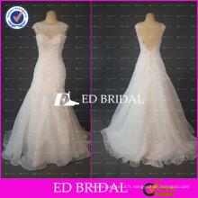 ED Bridal Real Sample Appliqued Cap Sleeve Backless Organza Alibaba Robe de mariée 2017