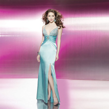 Sexy Trumpet Mermaid Deep-V Spaghetti Straps Floor-length Elastic-satin Open-back Beading Evening Dress