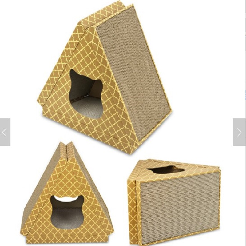 Multifunction Triangle Corrugated Cardboard Cat Scratcher Toy With Catnip-SAMPLE