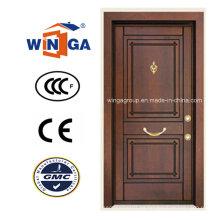 Puerta acorazada de chapa de madera MDF de acero de seguridad de Sudáfrica (W-T05)