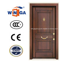 África do Sul Security Steel MDF Wood Veneer Armored Door (W-T05)