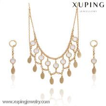 63733-Xuping Mesh Design Diamond Necklace Tassel Flake Jewelry Set