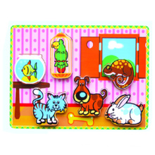 Wooden Thick Puzzle Toy for Baby with Family Animals (80498)
