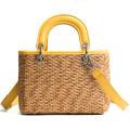 bolsa de ombro feminina tecida na moda feita à mão bolsa de praia em palha de praia com alça de couro