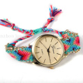 OEM Fashion Knitted Canvas Bracelet Ladies Watch Strap with Metal Edge