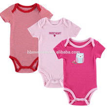 China Suppliers 3-pieces set stripe jumpsuit romper short sleeve baby romper onesie