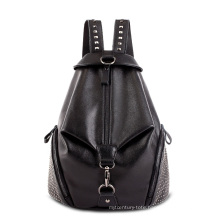 Black Ladies PU Backpack with Small Shining Rivet