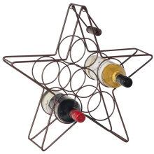 Metal star shaped bar and wine storage rack 6 bottles vino rack
