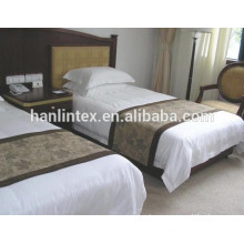Branco hotel de cor sólida tecido 100% algodão cetim listras