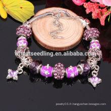 Bracelet en cristal de charme de style européen, bracelet en verre multicolore Murano Vente en gros