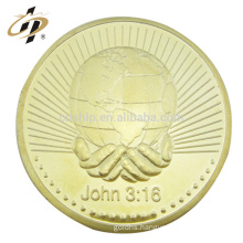 Wholesale custom metal gold jesus bible gospel souvenir copper coin