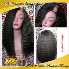 Перуанский человеческих волос дешевые U часть парики kinky прямая U часть парик
