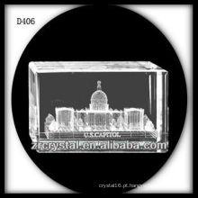 K9 3D Laser A Casa Branca Dentro Retângulo De Cristal