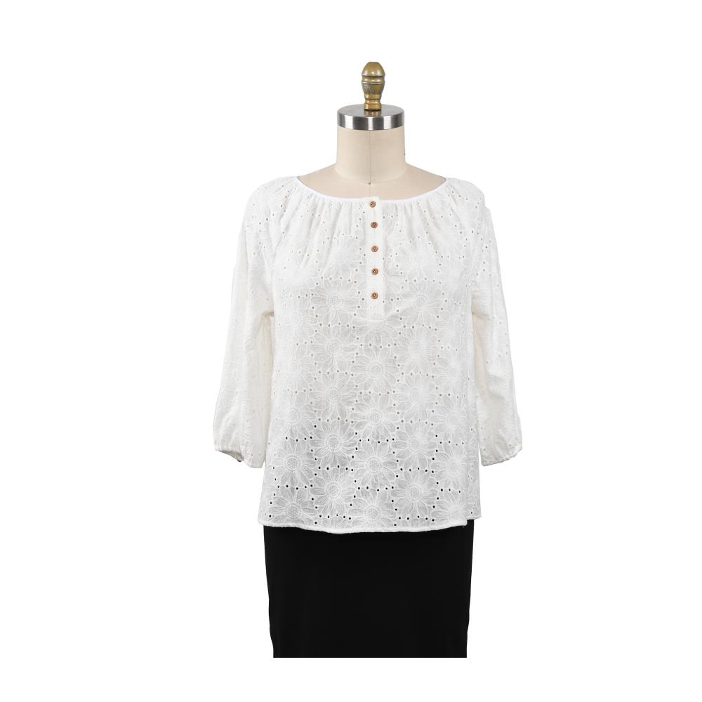 Ladies Blosue 3/4 Sleeve Cotton Embroidery Shirts