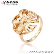12927 Nouveau design fine dames bijoux fleur en forme simple design plaqué or bague en cuivre