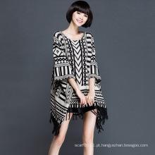 Senhora moda acrílico kntted inverno franja poncho (yky2061)