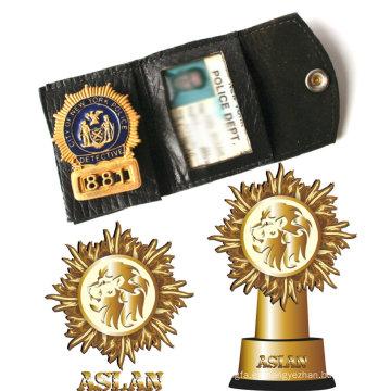 La policía Badge con el oro plateó la divisa 3D (GZHY-BADGE-016)