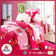 Flying red hearts colorful bedsheet set,75gsm 100% polyester king size bedsheet set,4 pcs high quality bedsheet set