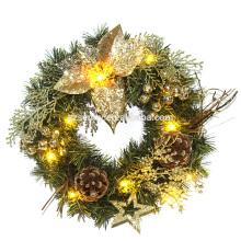 Décoration de fête en plastique LED Flower Christmas Wreath