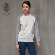 Womens crew neck cotton cashmere sweater