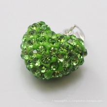 Высокое качество Shamballa подвеска Оптовая формы сердца новое прибытие 15 мм зеленый кристалл глины подвеска для ювелирных изделий DIY