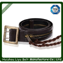 unique zippered lady pu belt with decorative tassel