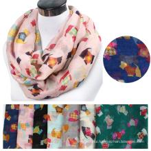 Fashion Lightweight large womens lady poylester Snood infinity scarf wholesale Print animal infinity dog scarf pattern