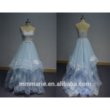 2016 Sweep Trail trägerlosen Ballkleid backless Organza Baby blau Kleider Hochzeitskleider und Brautkleid