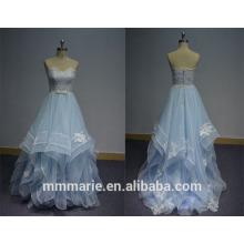 2016 varredura trilha vestido de bola strapless backless organza bebê azul vestidos vestidos de noiva e vestido de noiva