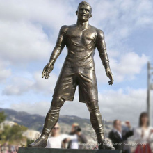 escultura de decoração Ronaldo vida tamanho futebol figura jardim bronze estátuas
