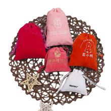 Custom logo printed mini drawstring necklace packaging velvet jewelry perfume pouch bag