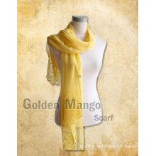 Mantón largo de seda del bordado de la manera