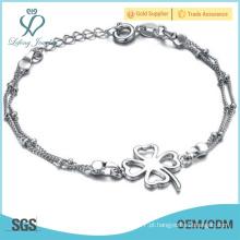 Mulheres pulseira tornozeleira trevo de prata, uma perna jóias tornozeleiras