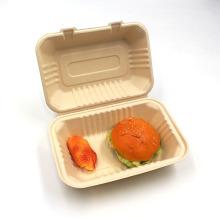 Sugarcane Bagasse Burger Clamshell Box Hot Selling in European Market