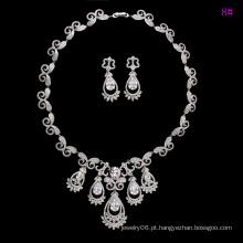 Moda de luxo ródio CZ Diamond Jewelry Set para o casamento (set-19)