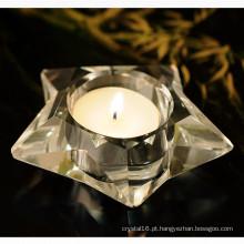 Forma de cinco estrelas de cristal de vidro Candleholder Craft para presente