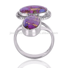 Creative Design Natural Purple Copper Turquoise Gemstone 925 Sterling Silver Ring Wholesale Bijouterie