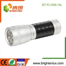Factory Bulk Sale Taille de poche 3 * AAA Dry Battery Powered Meilleur métal 14 conduit Torch pas cher avec poignée en caoutchouc en plastique