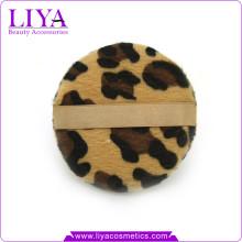 Neuer Leopard Animal print Runde Make-up Puderquaste mit Band