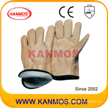 Желтая кожа натуральной кожи Джерси Промышленная безопасность Теплые зимние рабочие перчатки (12303)