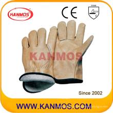 Yellow Cowhide Grain Leather Jersey Промышленная безопасность Теплые зимние рабочие перчатки (12303)
