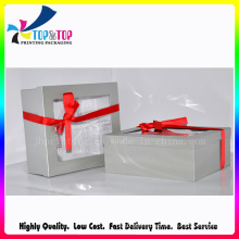 Silver Paper Gift Box with Ribbon as Bow Knot