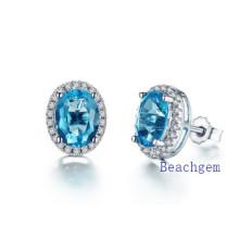 Natural Semi-Precious Gemstone Silver Earrings