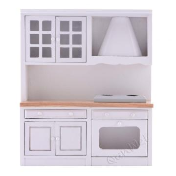 1/12 scale wooden dollhouse kitchen cabinet furniture set