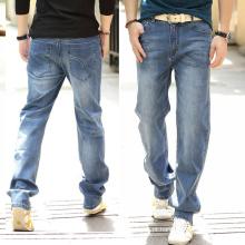 2016 nova moda clássico algodão calças de brim dos homens retas calças de brim da marca