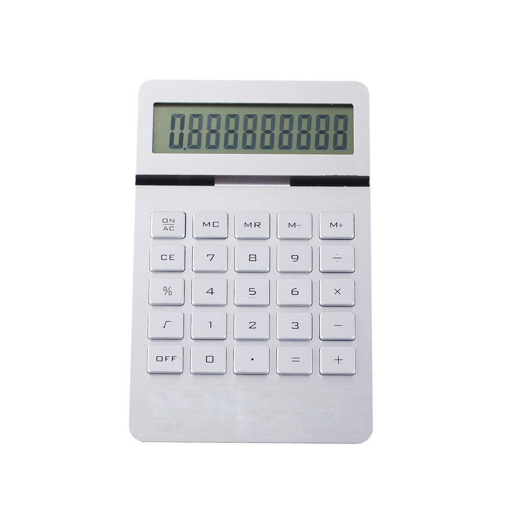 10 Calculadora digital de doble pantalla de aluminio y panel LCD