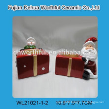 Merry christmas ceramic candle holders with present design