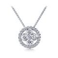 Bazel Setting Aaaa Cubic Zircon 925 Sterling Silver Pendants Necklace
