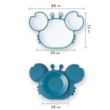 cute feeding set for baby silicon suction plate crab